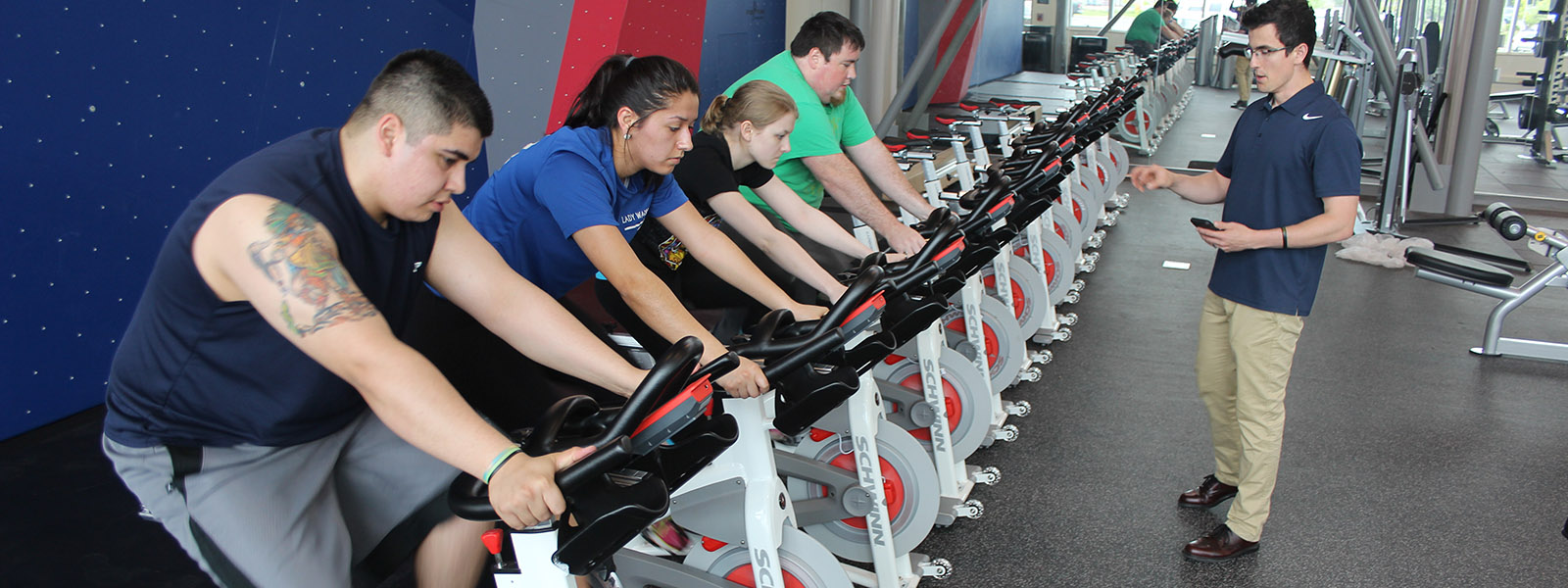 Image of students using exercise bicycles